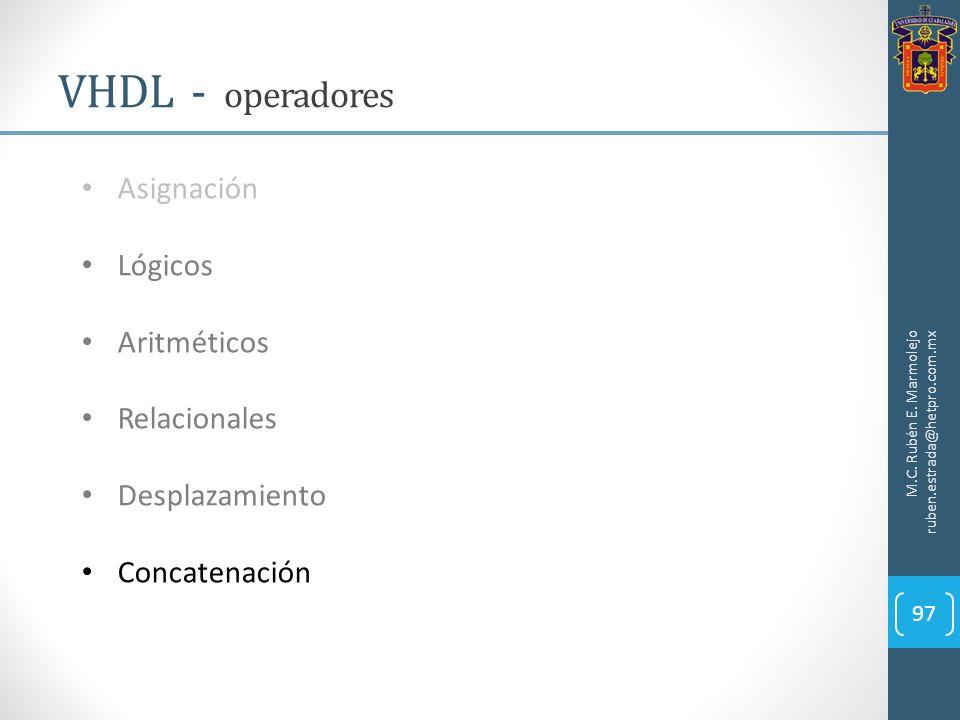 M.C. Rubén E. Marmolejo ruben.estrada@hetpro.com.mx VHDL - operadores 97 Asignación Lógicos Aritméticos Relacionales Desplazamiento Concatenación