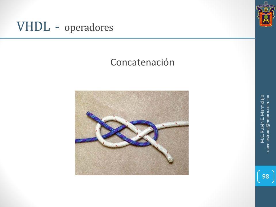 M.C. Rubén E. Marmolejo ruben.estrada@hetpro.com.mx VHDL - operadores 98 Concatenación