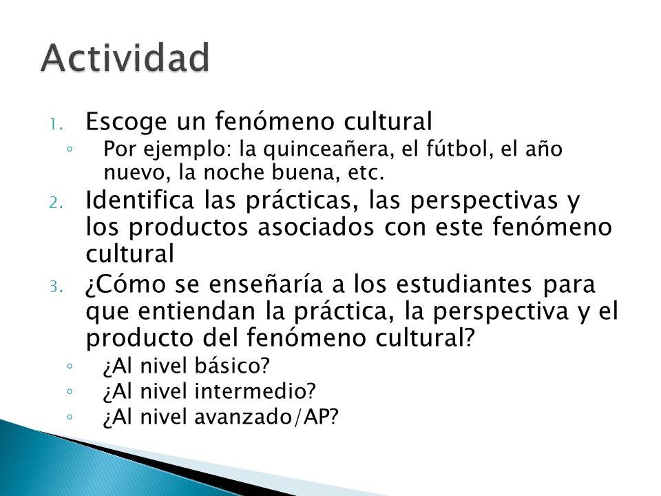 1. Escoge un fenómeno cultural Por ejemplo: la quinceañera, el fútbol, el año nuevo, la noche buena, etc. 2. Identifica las prácticas, las perspectiva
