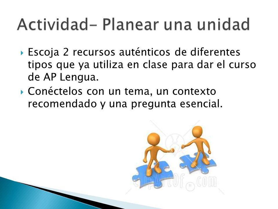 Escoja 2 recursos auténticos de diferentes tipos que ya utiliza en clase para dar el curso de AP Lengua. Conéctelos con un tema, un contexto recomenda