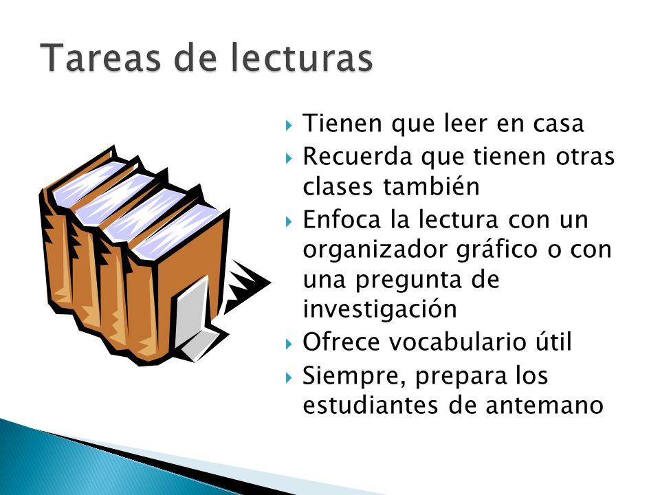 Tienen que leer en casa Recuerda que tienen otras clases también Enfoca la lectura con un organizador gráfico o con una pregunta de investigación Ofre