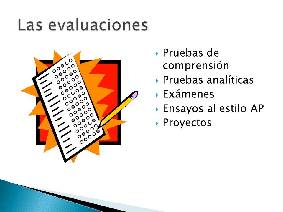 Pruebas de comprensión Pruebas analíticas Exámenes Ensayos al estilo AP Proyectos