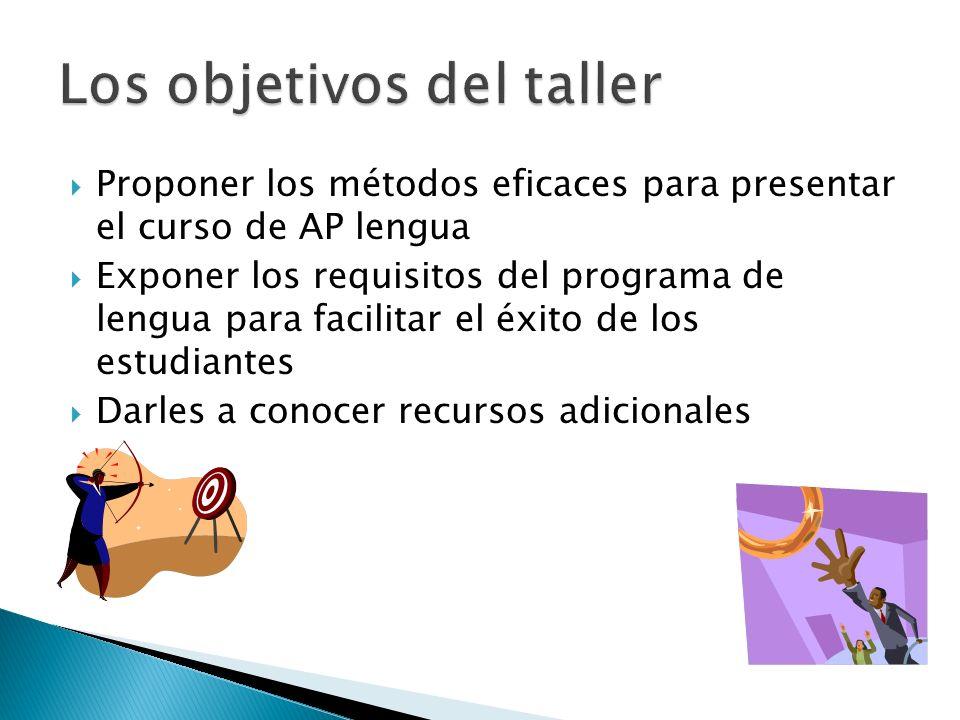 Proponer los métodos eficaces para presentar el curso de AP lengua Exponer los requisitos del programa de lengua para facilitar el éxito de los estudi