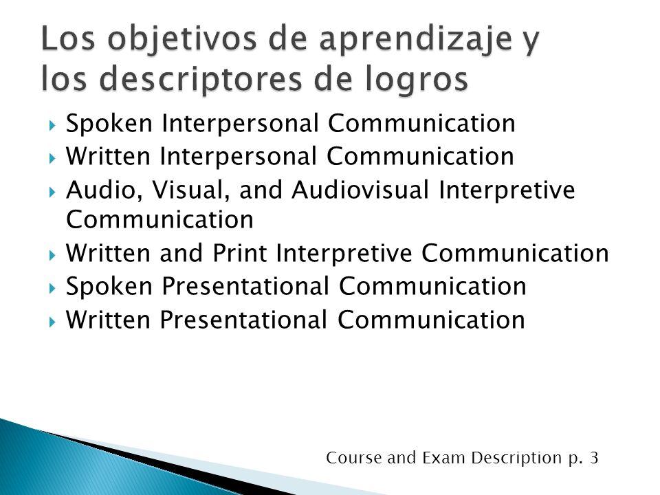 Spoken Interpersonal Communication Written Interpersonal Communication Audio, Visual, and Audiovisual Interpretive Communication Written and Print Int