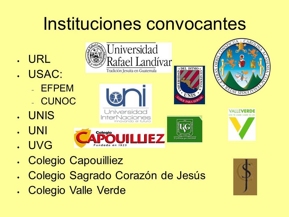 Instituciones convocantes URL USAC: EFPEM CUNOC UNIS UNI UVG Colegio Capouilliez Colegio Sagrado Corazón de Jesús Colegio Valle Verde