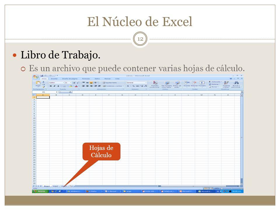 El Núcleo de Excel Libro de Trabajo. Es un archivo que puede contener varias hojas de cálculo. Hojas de Cálculo 12