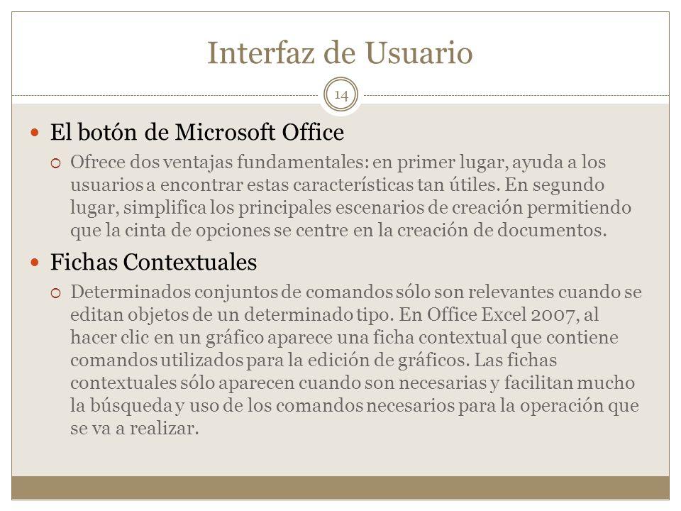 Interfaz de Usuario El botón de Microsoft Office Ofrece dos ventajas fundamentales: en primer lugar, ayuda a los usuarios a encontrar estas caracterís
