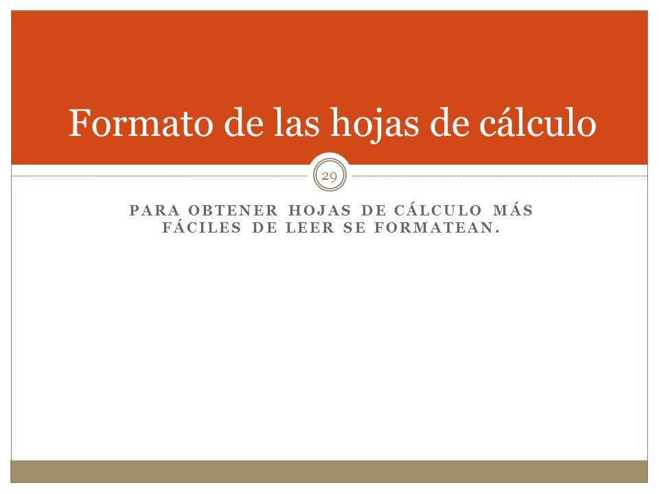 Formato de las hojas de cálculo PARA OBTENER HOJAS DE CÁLCULO MÁS FÁCILES DE LEER SE FORMATEAN. 29