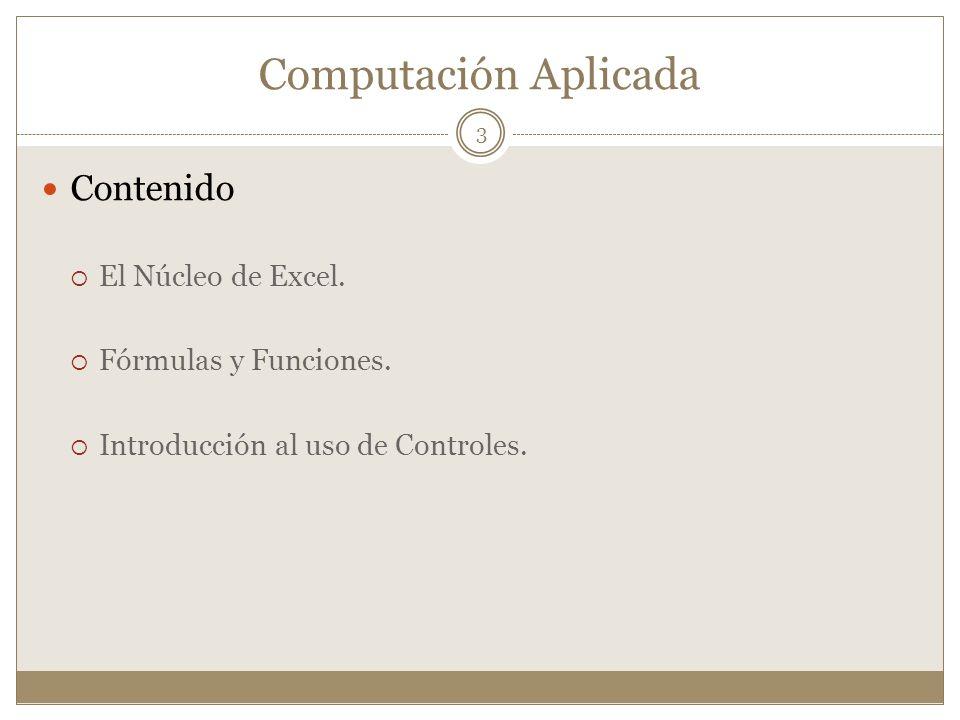 Computación Aplicada Contenido El Núcleo de Excel. Fórmulas y Funciones. Introducción al uso de Controles. 3