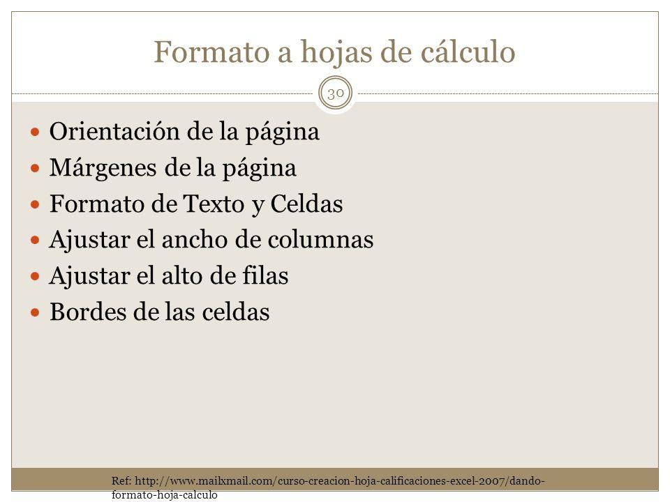 Formato a hojas de cálculo Orientación de la página Márgenes de la página Formato de Texto y Celdas Ajustar el ancho de columnas Ajustar el alto de fi