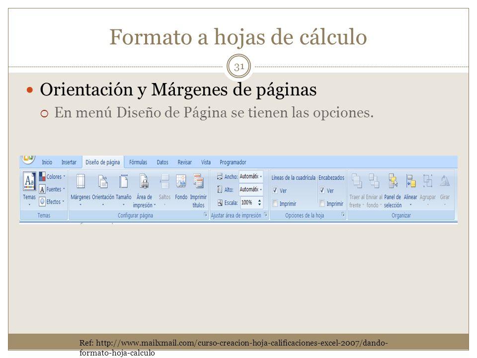 Formato a hojas de cálculo Orientación y Márgenes de páginas En menú Diseño de Página se tienen las opciones. 31 Ref: http://www.mailxmail.com/curso-c