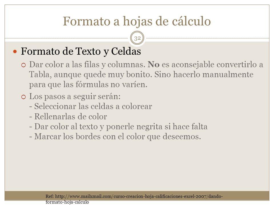 Formato a hojas de cálculo Formato de Texto y Celdas Dar color a las filas y columnas. No es aconsejable convertirlo a Tabla, aunque quede muy bonito.