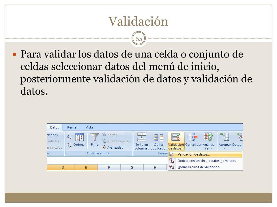 Validación Para validar los datos de una celda o conjunto de celdas seleccionar datos del menú de inicio, posteriormente validación de datos y validac