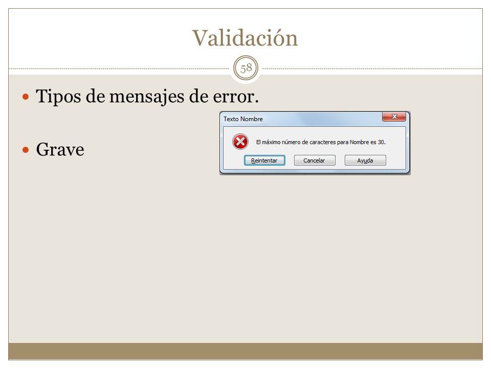 Validación Tipos de mensajes de error. Grave 58