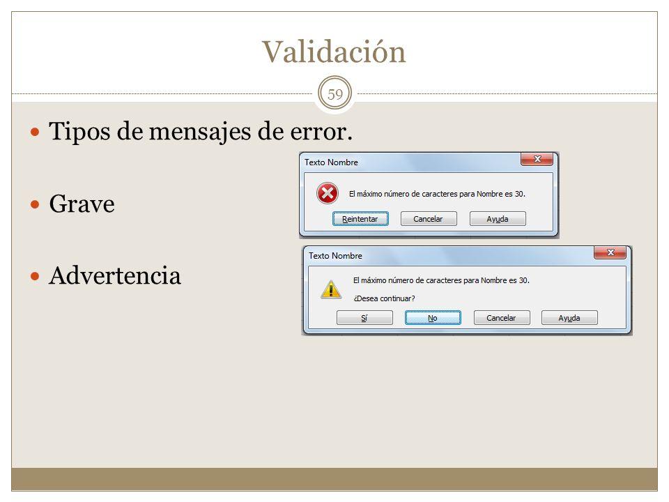 Validación Tipos de mensajes de error. Grave Advertencia 59
