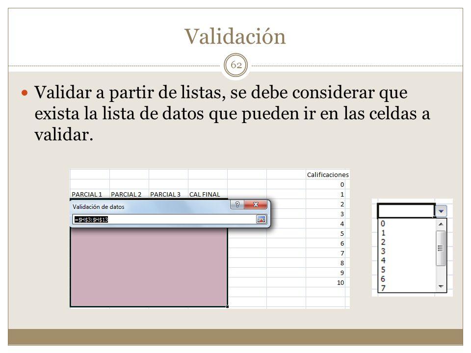 Validación Validar a partir de listas, se debe considerar que exista la lista de datos que pueden ir en las celdas a validar. 62