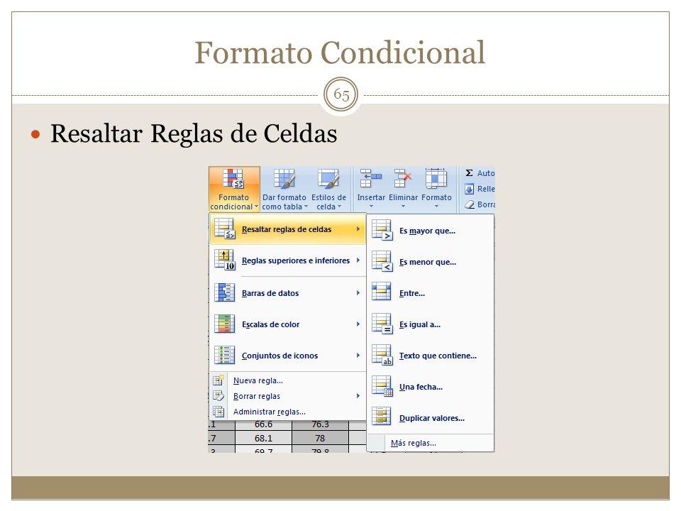 Formato Condicional Resaltar Reglas de Celdas 65