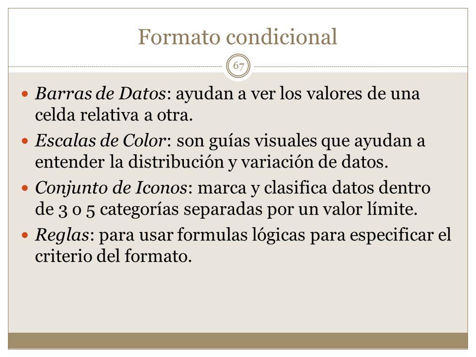 Formato condicional 67 Barras de Datos: ayudan a ver los valores de una celda relativa a otra. Escalas de Color: son guías visuales que ayudan a enten