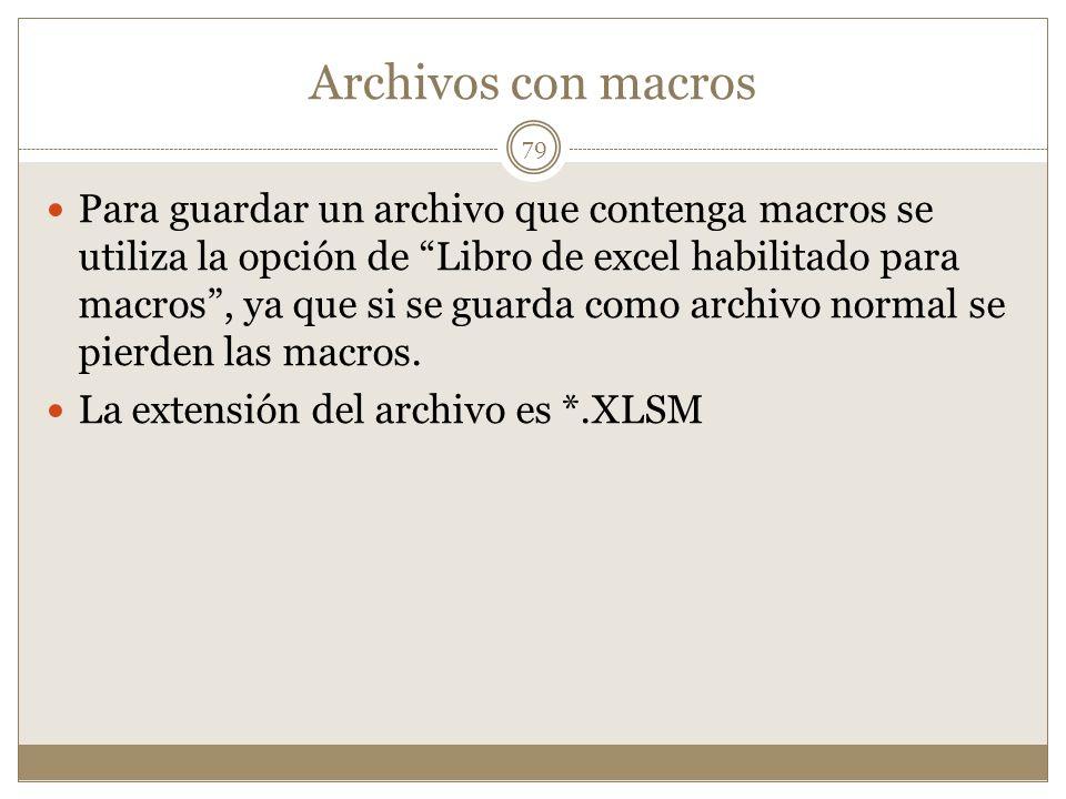 Archivos con macros Para guardar un archivo que contenga macros se utiliza la opción de Libro de excel habilitado para macros, ya que si se guarda com