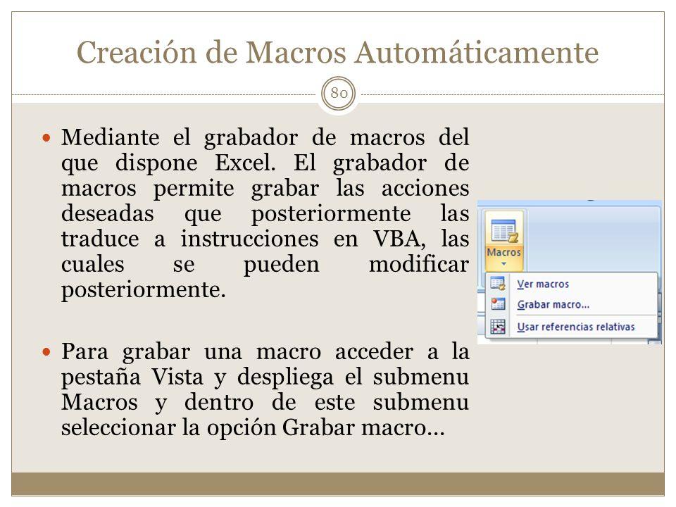Creación de Macros Automáticamente Mediante el grabador de macros del que dispone Excel. El grabador de macros permite grabar las acciones deseadas qu