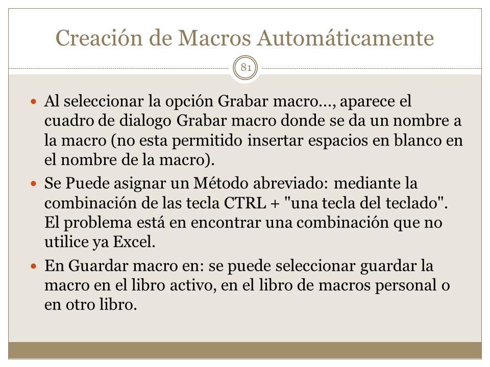 Creación de Macros Automáticamente Al seleccionar la opción Grabar macro..., aparece el cuadro de dialogo Grabar macro donde se da un nombre a la macr