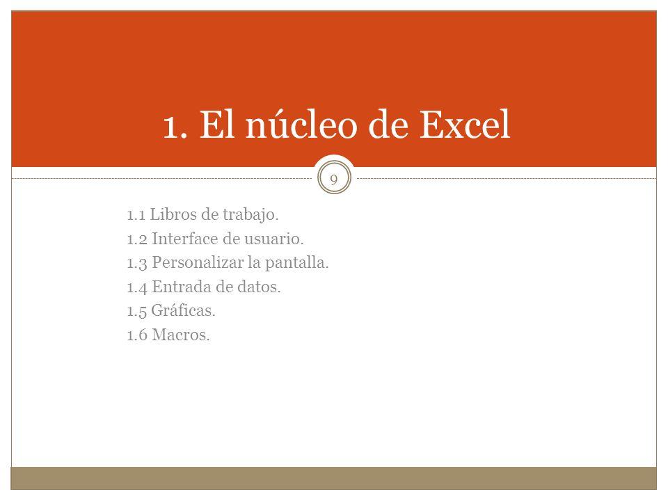 1.1 Libros de trabajo. 1.2 Interface de usuario. 1.3 Personalizar la pantalla. 1.4 Entrada de datos. 1.5 Gráficas. 1.6 Macros. 1. El núcleo de Excel 9