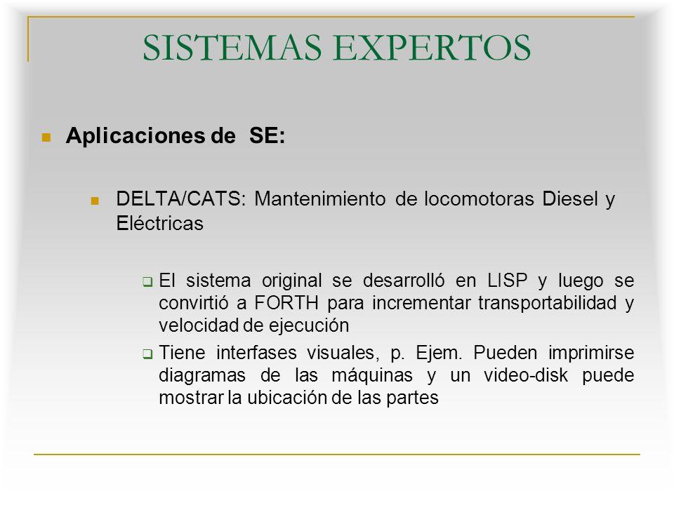 SISTEMAS EXPERTOS Aplicaciones de SE: DELTA/CATS: Mantenimiento de locomotoras Diesel y Eléctricas El sistema original se desarrolló en LISP y luego se convirtió a FORTH para incrementar transportabilidad y velocidad de ejecución Tiene interfases visuales, p.