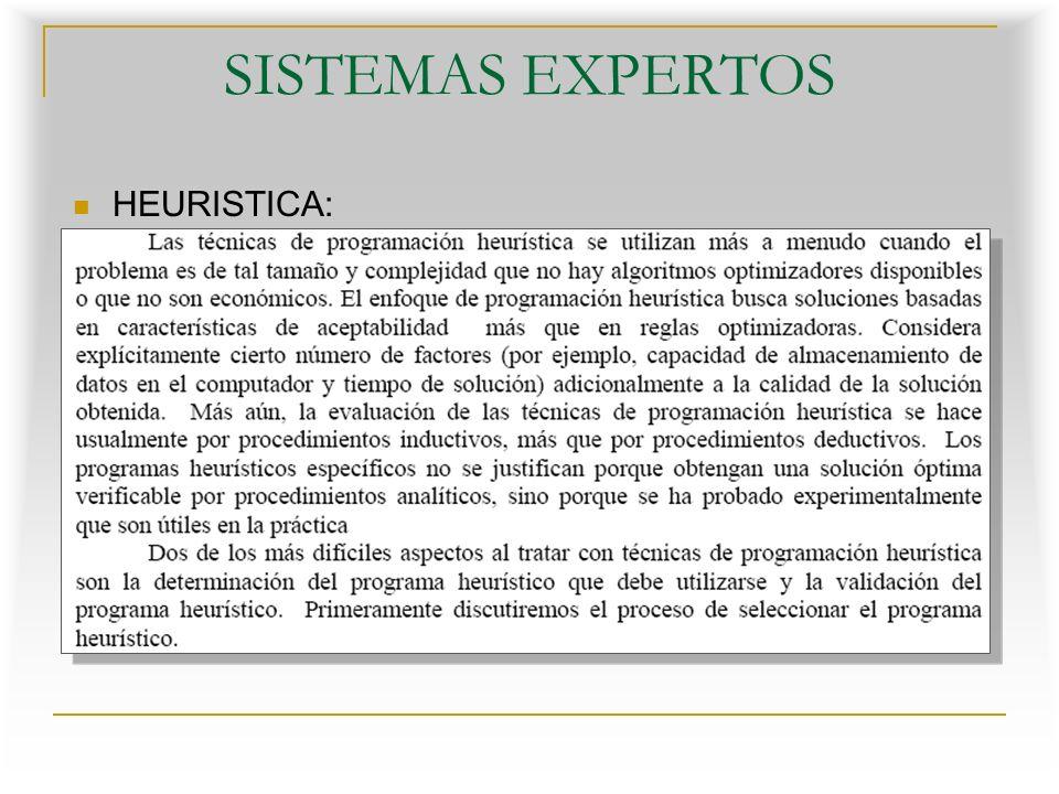 SISTEMAS EXPERTOS HEURISTICA: