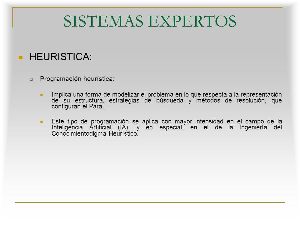 SISTEMAS EXPERTOS HEURISTICA: Programación heurística: Implica una forma de modelizar el problema en lo que respecta a la representación de su estructura, estrategias de búsqueda y métodos de resolución, que configuran el Para.