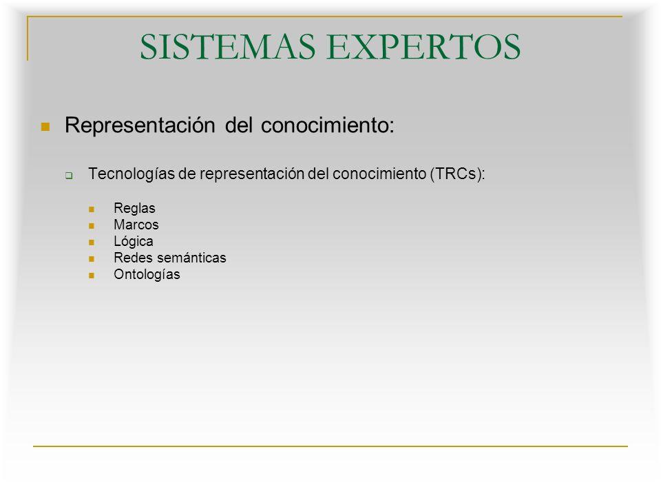 SISTEMAS EXPERTOS Representación del conocimiento: Tecnologías de representación del conocimiento (TRCs): Reglas Marcos Lógica Redes semánticas Ontologías