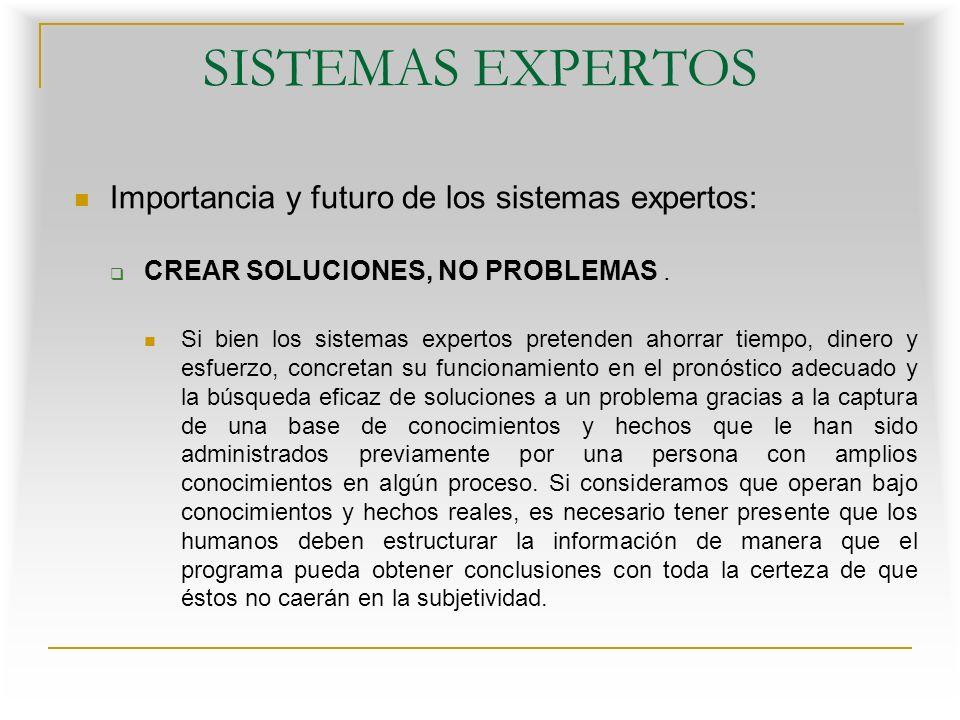 SISTEMAS EXPERTOS Importancia y futuro de los sistemas expertos: CREAR SOLUCIONES, NO PROBLEMAS.