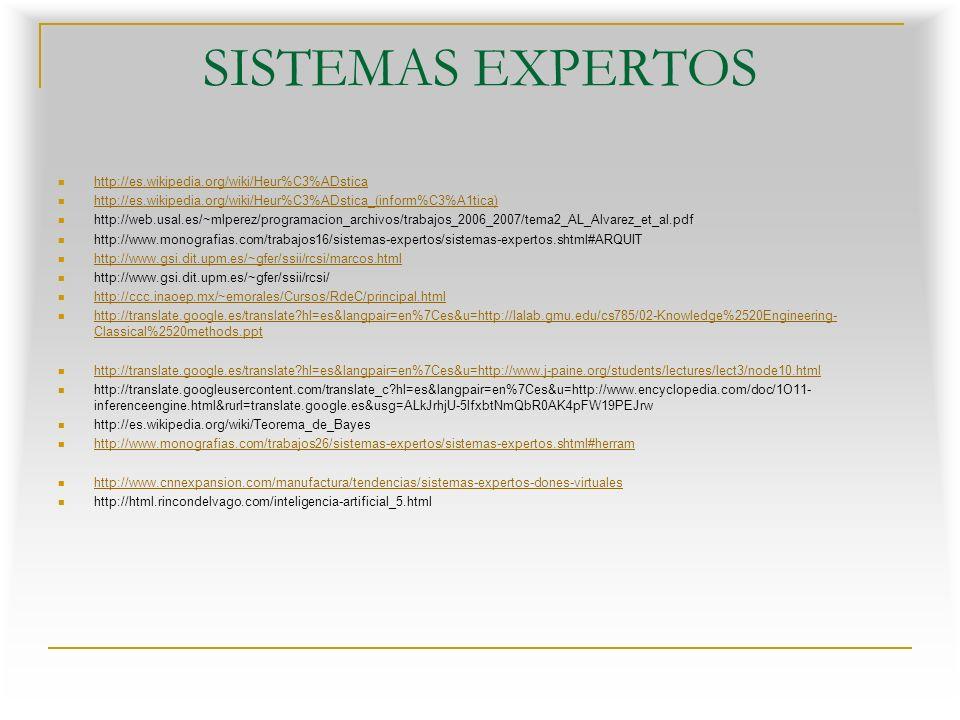 SISTEMAS EXPERTOS http://es.wikipedia.org/wiki/Heur%C3%ADstica http://es.wikipedia.org/wiki/Heur%C3%ADstica_(inform%C3%A1tica) http://web.usal.es/~mlperez/programacion_archivos/trabajos_2006_2007/tema2_AL_Alvarez_et_al.pdf http://www.monografias.com/trabajos16/sistemas-expertos/sistemas-expertos.shtml#ARQUIT http://www.gsi.dit.upm.es/~gfer/ssii/rcsi/marcos.html http://www.gsi.dit.upm.es/~gfer/ssii/rcsi/ http://ccc.inaoep.mx/~emorales/Cursos/RdeC/principal.html http://translate.google.es/translate?hl=es&langpair=en%7Ces&u=http://lalab.gmu.edu/cs785/02-Knowledge%2520Engineering- Classical%2520methods.ppt http://translate.google.es/translate?hl=es&langpair=en%7Ces&u=http://lalab.gmu.edu/cs785/02-Knowledge%2520Engineering- Classical%2520methods.ppt http://translate.google.es/translate?hl=es&langpair=en%7Ces&u=http://www.j-paine.org/students/lectures/lect3/node10.html http://translate.googleusercontent.com/translate_c?hl=es&langpair=en%7Ces&u=http://www.encyclopedia.com/doc/1O11- inferenceengine.html&rurl=translate.google.es&usg=ALkJrhjU-5lfxbtNmQbR0AK4pFW19PEJrw http://es.wikipedia.org/wiki/Teorema_de_Bayes http://www.monografias.com/trabajos26/sistemas-expertos/sistemas-expertos.shtml#herram http://www.cnnexpansion.com/manufactura/tendencias/sistemas-expertos-dones-virtuales http://html.rincondelvago.com/inteligencia-artificial_5.html