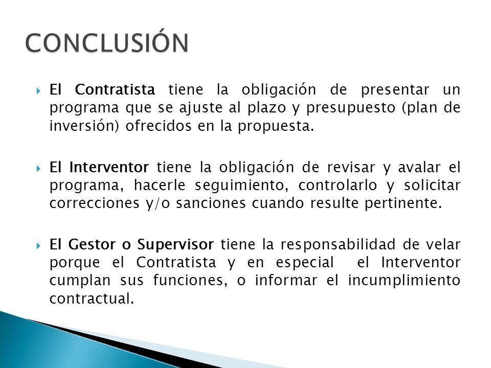 El Contratista tiene la obligación de presentar un programa que se ajuste al plazo y presupuesto (plan de inversión) ofrecidos en la propuesta. El Int