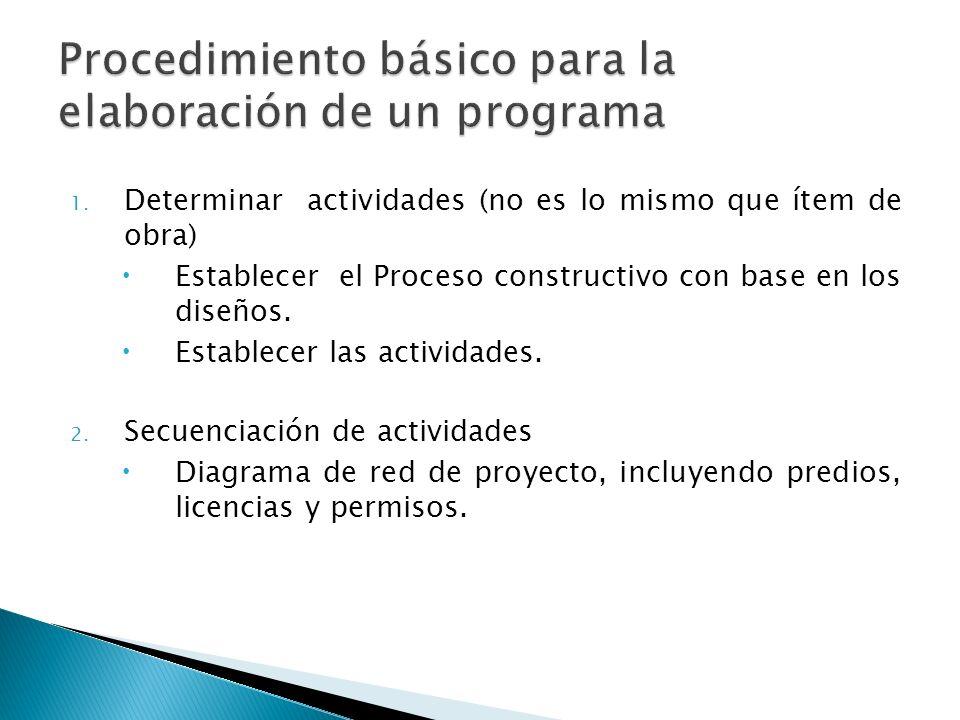 1. Determinar actividades (no es lo mismo que ítem de obra) Establecer el Proceso constructivo con base en los diseños. Establecer las actividades. 2.