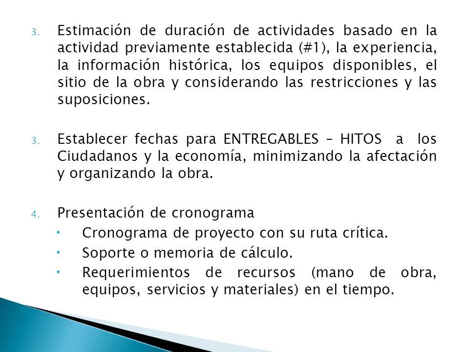 3. Estimación de duración de actividades basado en la actividad previamente establecida (#1), la experiencia, la información histórica, los equipos di