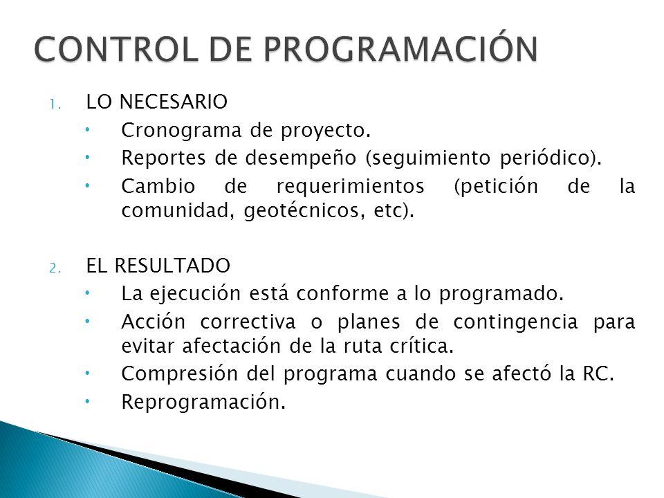 1. LO NECESARIO Cronograma de proyecto. Reportes de desempeño (seguimiento periódico). Cambio de requerimientos (petición de la comunidad, geotécnicos
