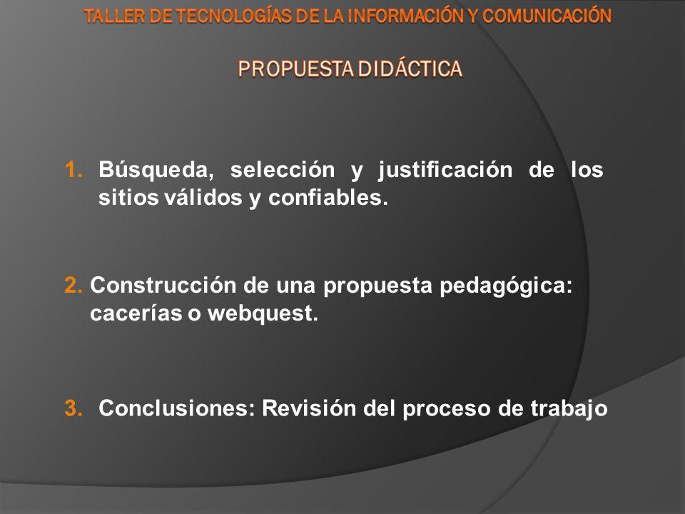 1.Búsqueda, selección y justificación de los sitios válidos y confiables.