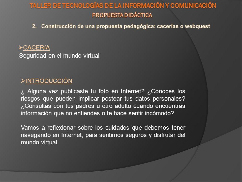Seguridad en el mundo virtual CACERíA INTRODUCCIÓN ¿ Alguna vez publicaste tu foto en Internet.