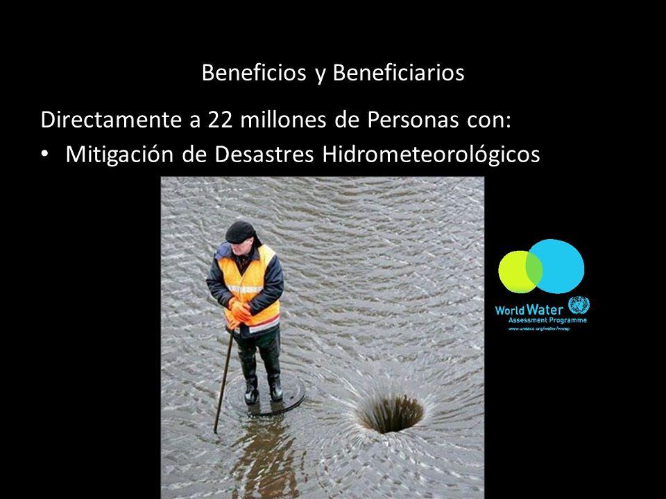 Beneficios y Beneficiarios Directamente a 22 millones de Personas con: Mitigación de Desastres Hidrometeorológicos