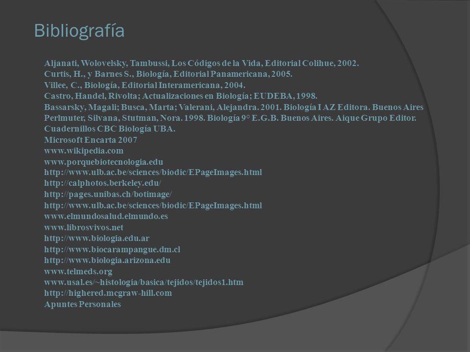 Bibliografía Aljanati, Wolovelsky, Tambussi, Los Códigos de la Vida, Editorial Colihue, 2002.