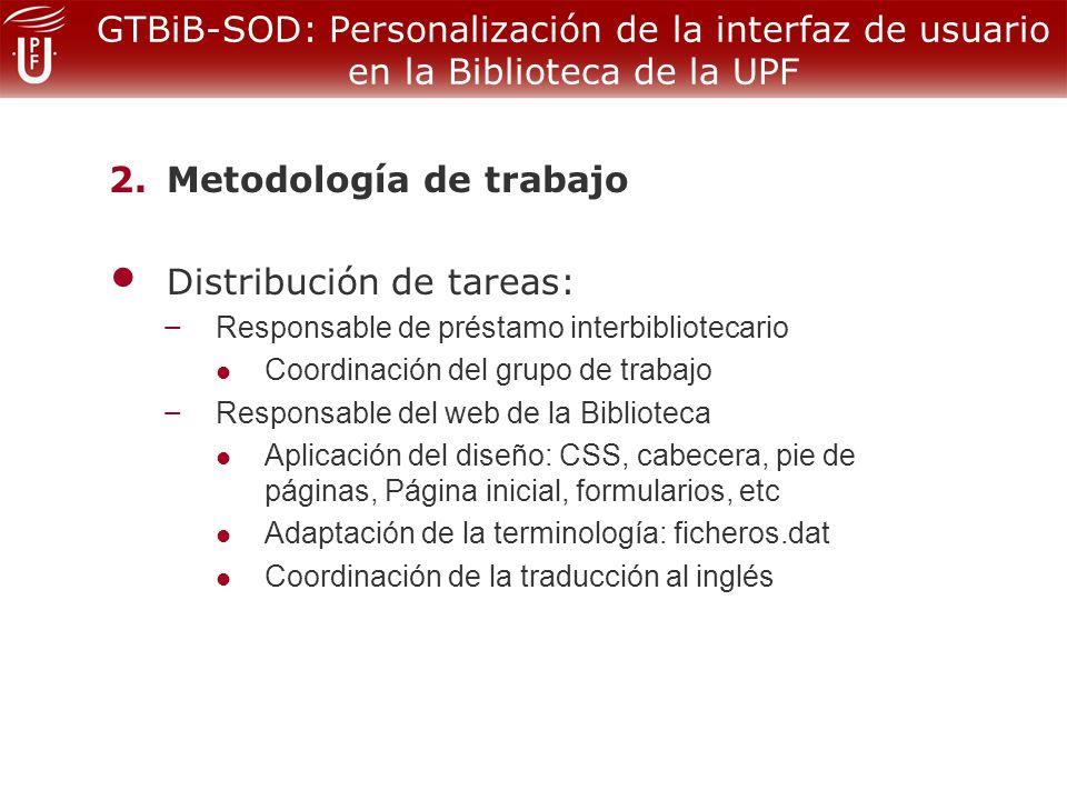 GTBiB-SOD: Personalización de la interfaz de usuario en la Biblioteca de la UPF 2.Metodología de trabajo Distribución de tareas: – Responsable de préstamo interbibliotecario Coordinación del grupo de trabajo – Responsable del web de la Biblioteca Aplicación del diseño: CSS, cabecera, pie de páginas, Página inicial, formularios, etc Adaptación de la terminología: ficheros.dat Coordinación de la traducción al inglés