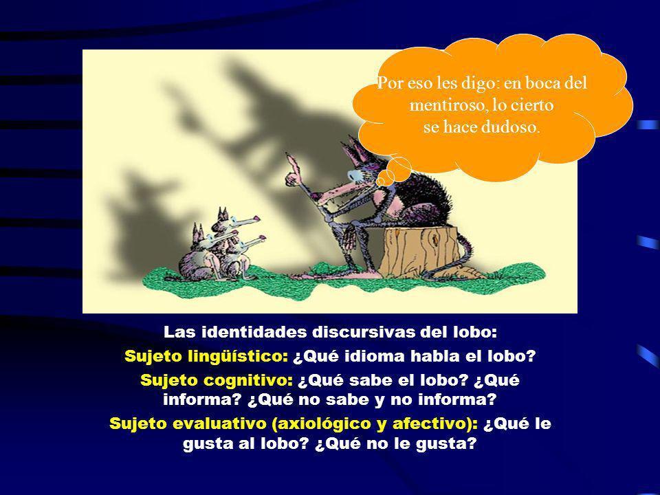 Las identidades discursivas del lobo: Sujeto lingüístico: ¿Qué idioma habla el lobo? Sujeto cognitivo: ¿Qué sabe el lobo? ¿Qué informa? ¿Qué no sabe y