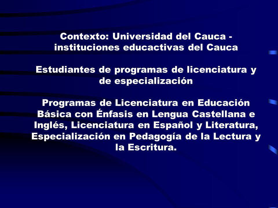 Contexto: Universidad del Cauca - instituciones educactivas del Cauca Estudiantes de programas de licenciatura y de especialización Programas de Licen