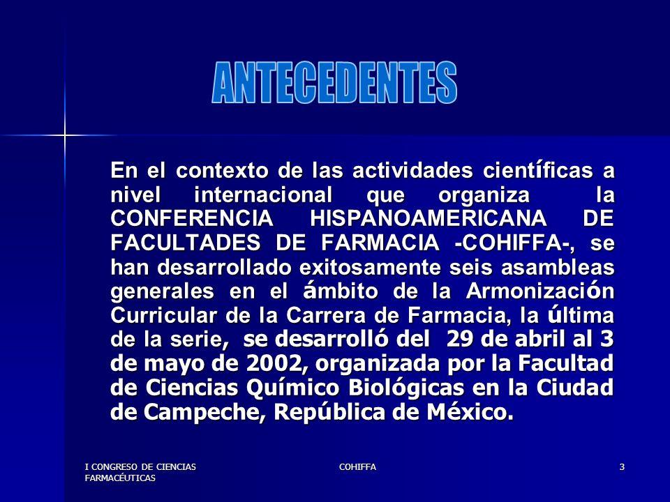 I CONGRESO DE CIENCIAS FARMACÉUTICAS COHIFFA4 Será organizada por el Departamento de Química Farmacéutica de la Universidad del Valle de Guatemala, la Escuela de Química Farmacéutica de la Facultad de Ciencias Químicas y Farmacia de la Universidad de San Carlos de Guatemala, El Departamento de Regulación y Control de Productos Farmacéuticos y Afines del Ministerio de Salud Pública y Asistencia Social y el Colegio de Farmacéuticos y Químicos de Guatemala.