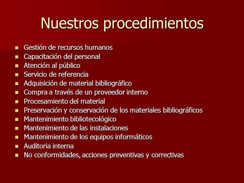 Nuestros procedimientos Gestión de recursos humanos Gestión de recursos humanos Capacitación del personal Capacitación del personal Atención al públic
