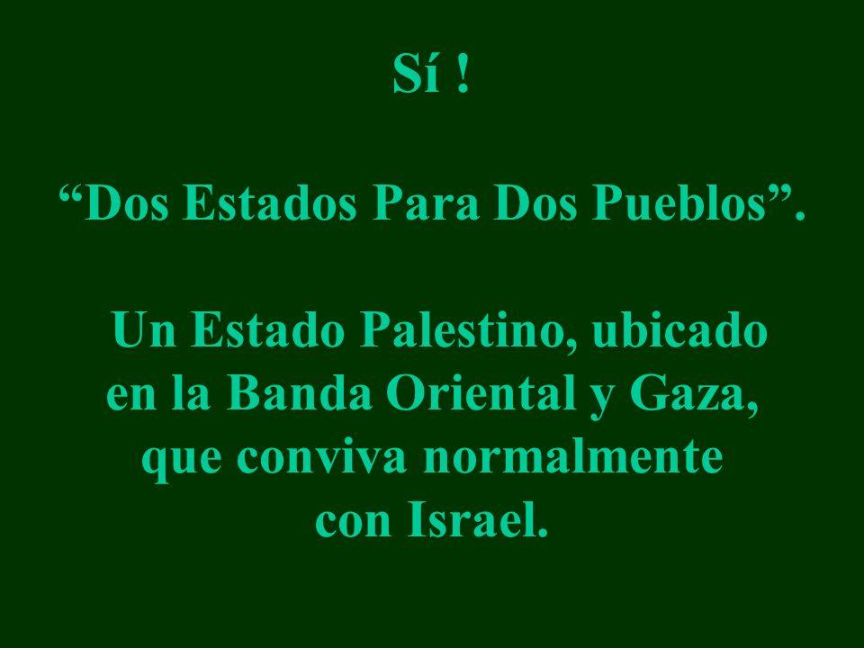 Sí ! Dos Estados Para Dos Pueblos. Un Estado Palestino, ubicado en la Banda Oriental y Gaza, que conviva normalmente con Israel.