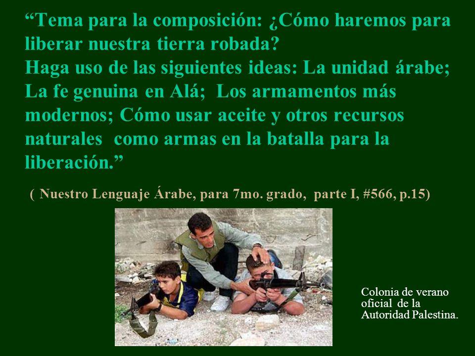 Tema para la composición: ¿Cómo haremos para liberar nuestra tierra robada? Haga uso de las siguientes ideas: La unidad árabe; La fe genuina en Alá; L