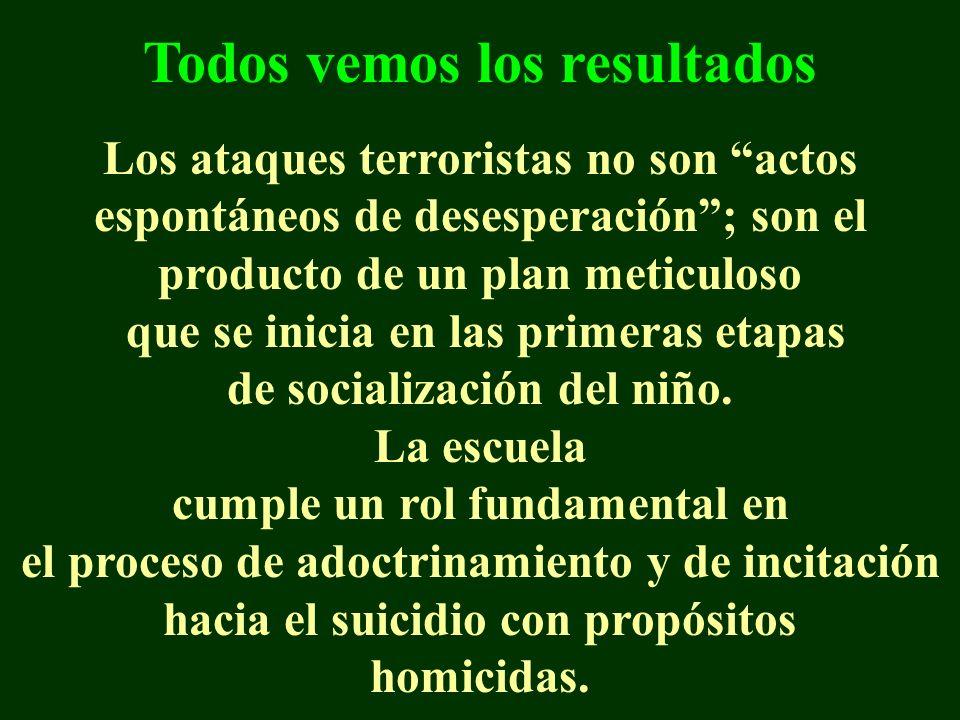 Todos vemos los resultados Los ataques terroristas no son actos espontáneos de desesperación; son el producto de un plan meticuloso que se inicia en las primeras etapas de socialización del niño.