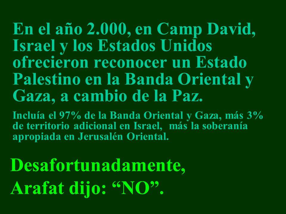 En el año 2.000, en Camp David, Israel y los Estados Unidos ofrecieron reconocer un Estado Palestino en la Banda Oriental y Gaza, a cambio de la Paz.