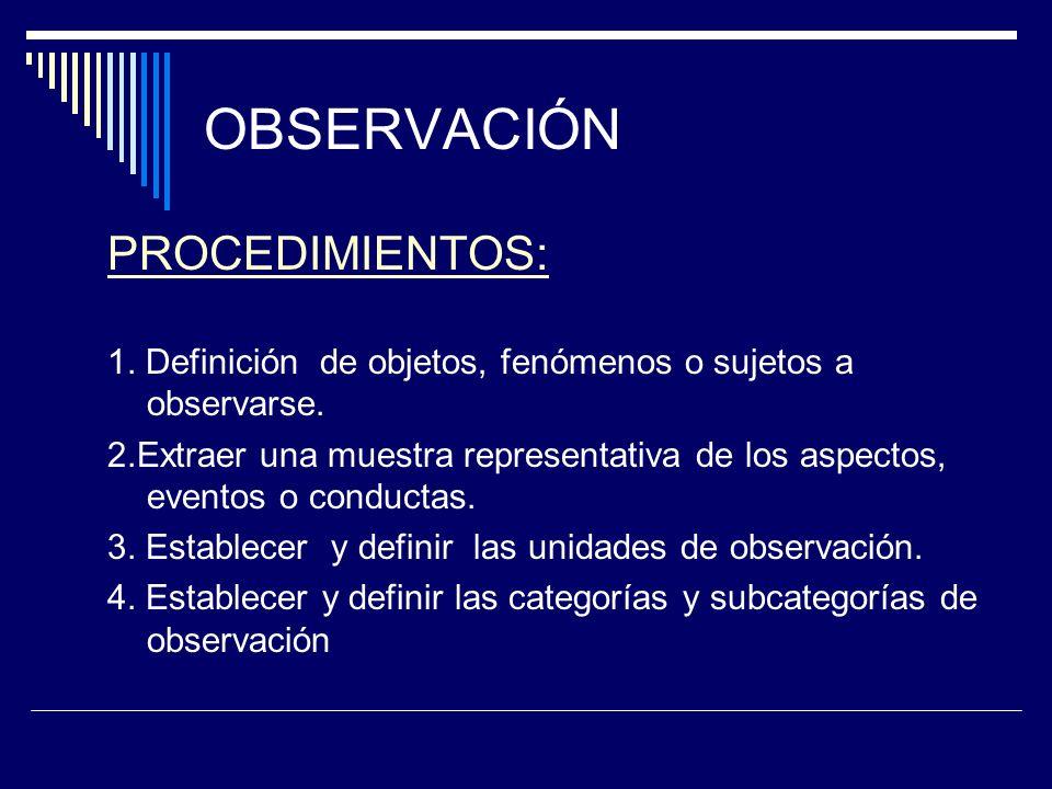 OBSERVACIÓN PROCEDIMIENTOS: 1.Definición de objetos, fenómenos o sujetos a observarse.